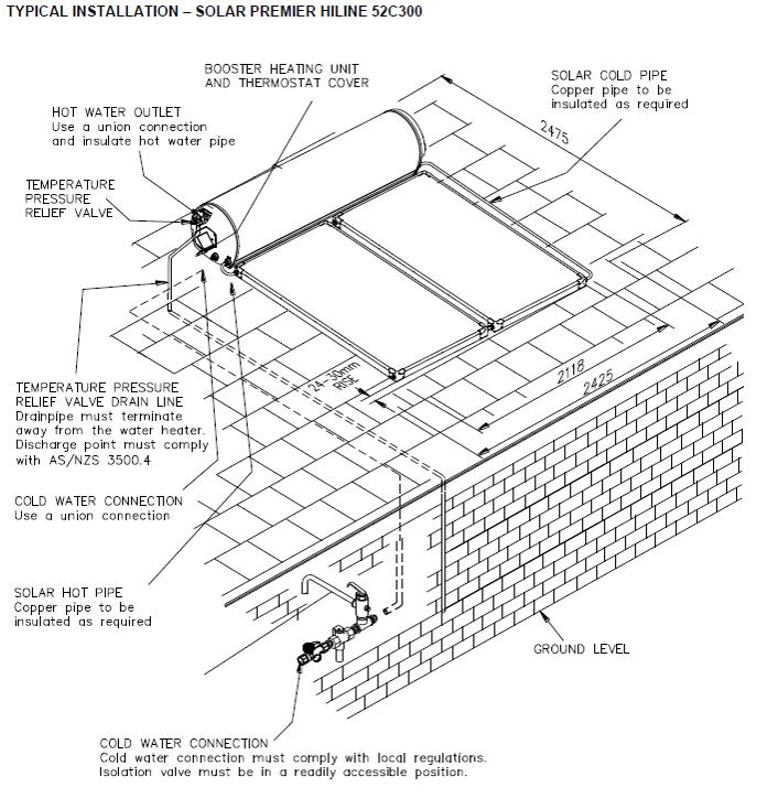 solahart 52c300 solar hot water system